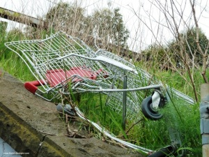 Shopping trolley fails to cross railway line